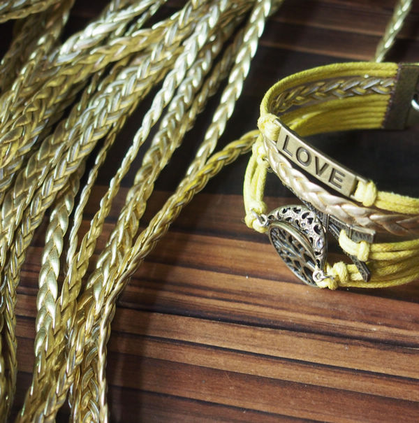 Gold Braided Leather Bracelet Supplies