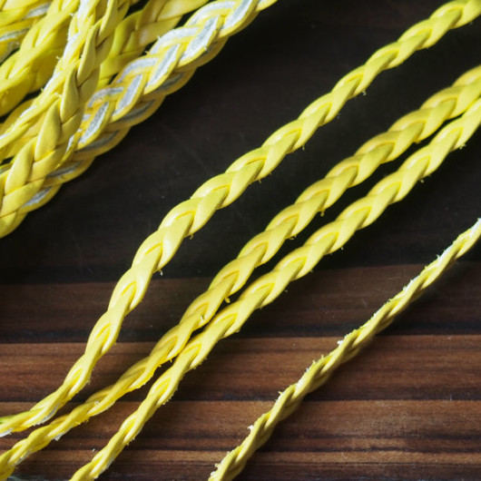 yellow-braided-leather-supplies-cord