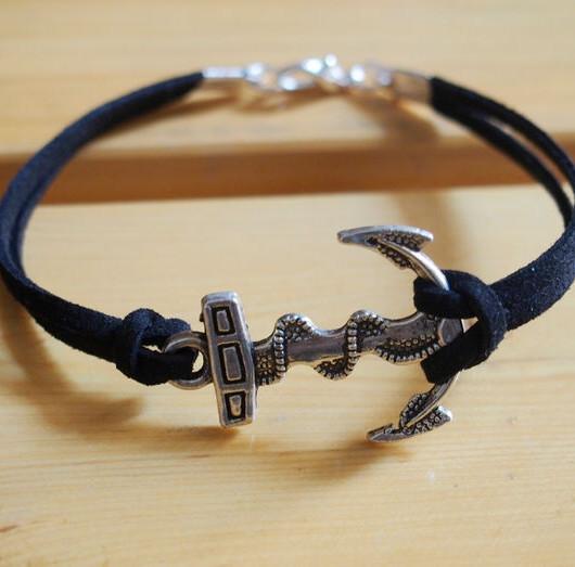 anchor bracelet black imitation leather bracelet