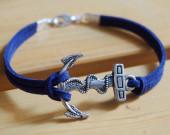 anchor bracelet navy blue leather