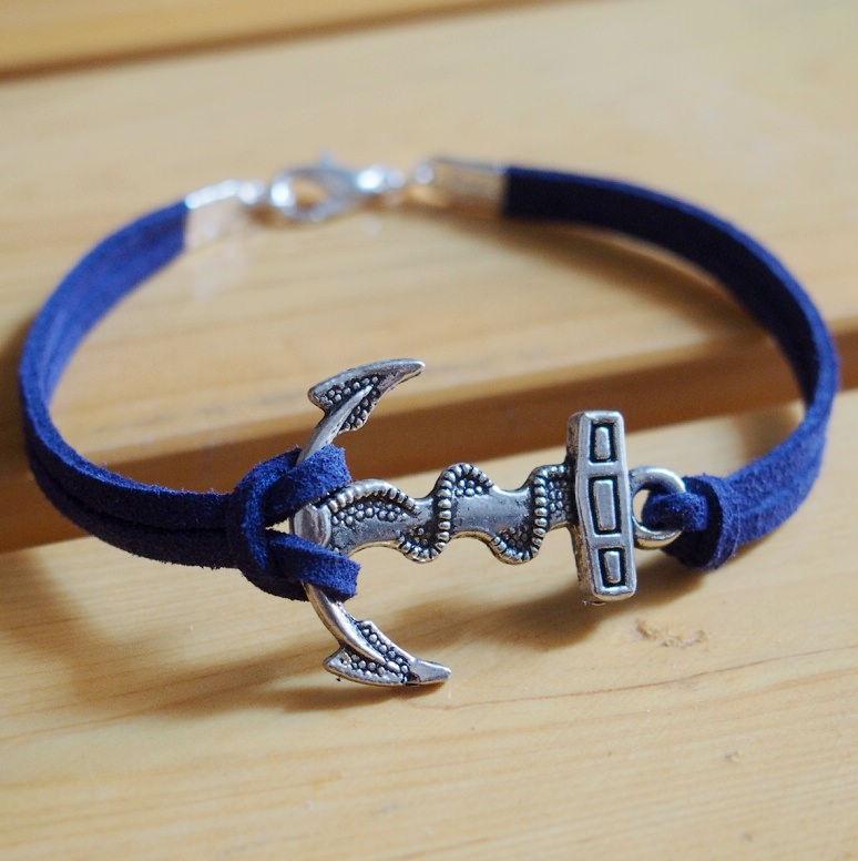 Anchor Bracelet For Men Women Navy Blue Imitation Leather Best Gift Jewelry Friendship