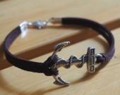 bracelet for men anchor leather bracelet