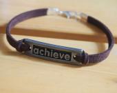 brown leather bracelet for men women achieve