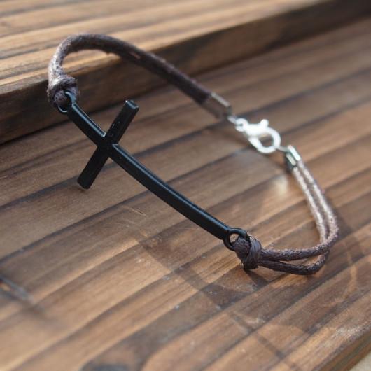 gun-black-color-cross-bracelet-for-men