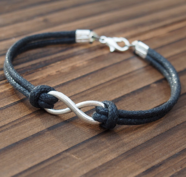 Silver Infinity Friendship Single Bracelet Quality Black Wax Cord Leather Best Gift Jewelry For