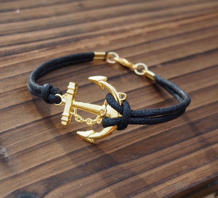 Handmade Mens Bracelet Gold Anchor