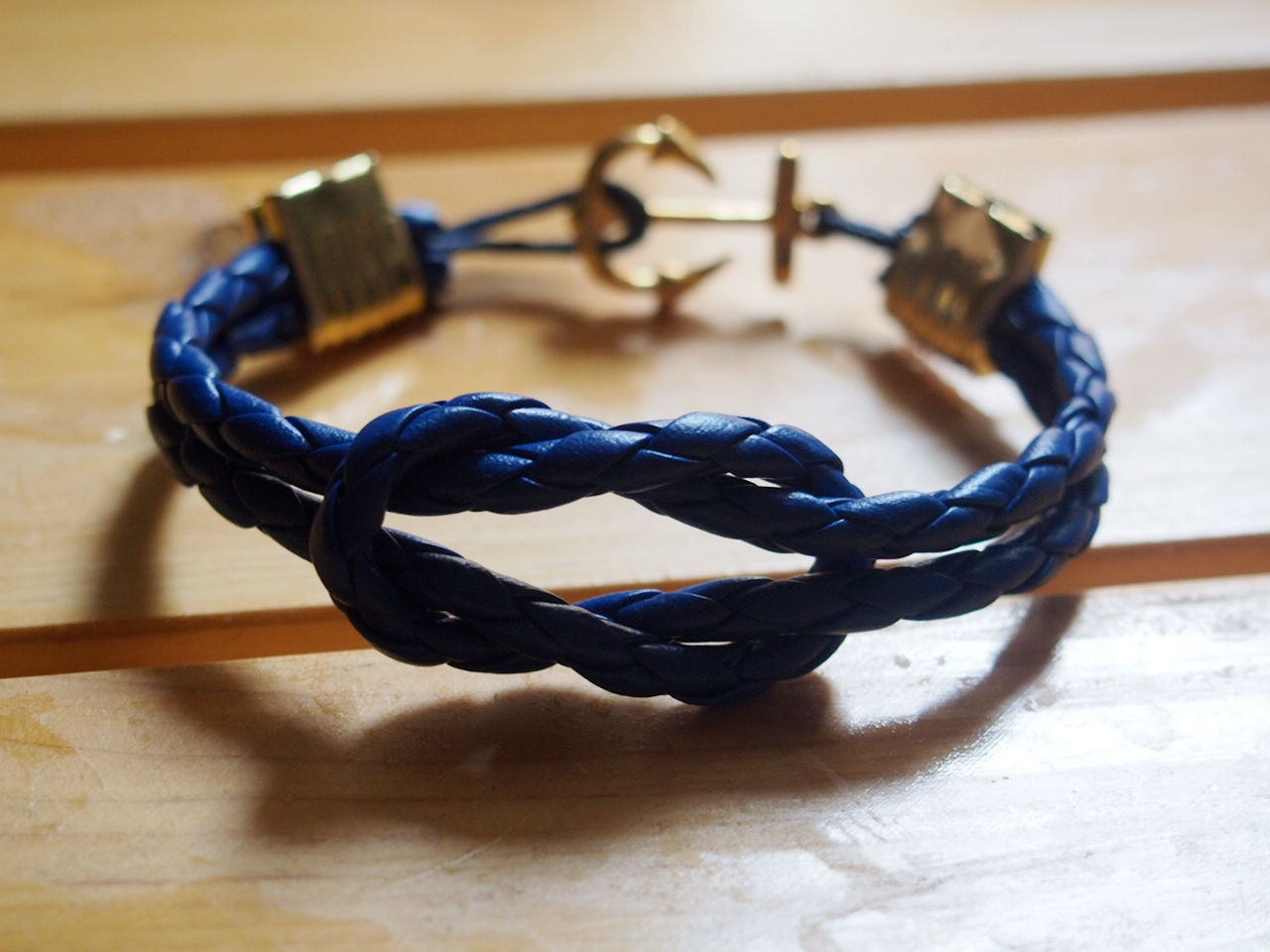 Knotted Bracelet With Anchor In Gold For Men