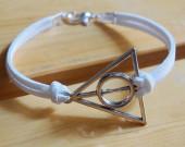 silver harry potter bracelet white leather