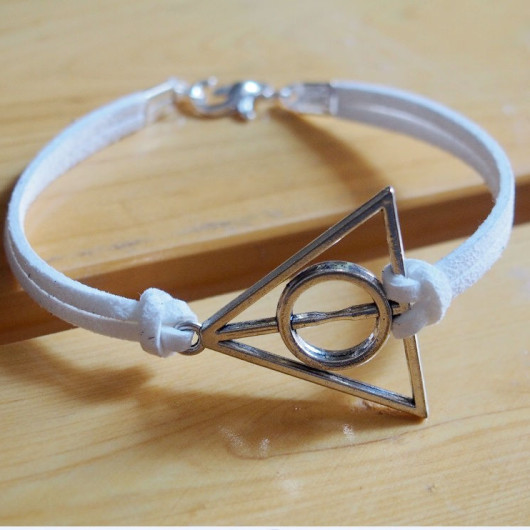 silver harry potter bracelet white leather