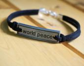 world-peace-bracelet-black-imitation-leather-bracelet