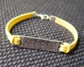 bracelet-handmade-yellow-leather-follow-your-heart