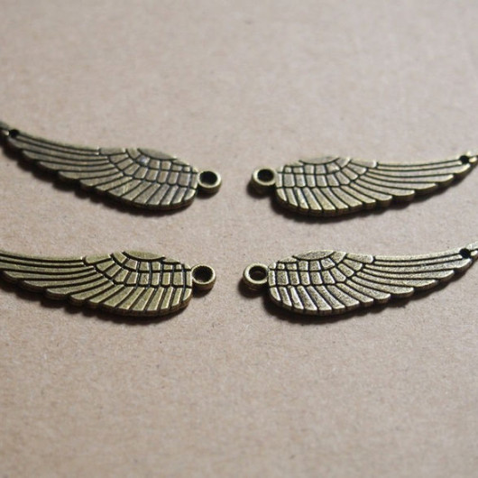 bronze angel wings alloy pendant