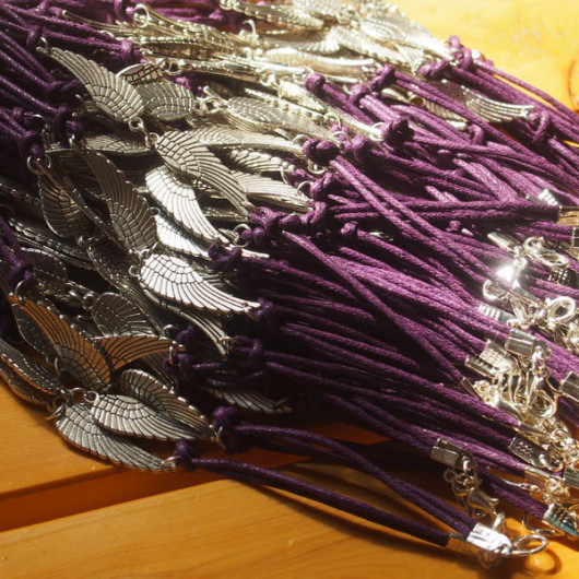 wholesale-angel-wings-leather-bracelet-purple-color-silver