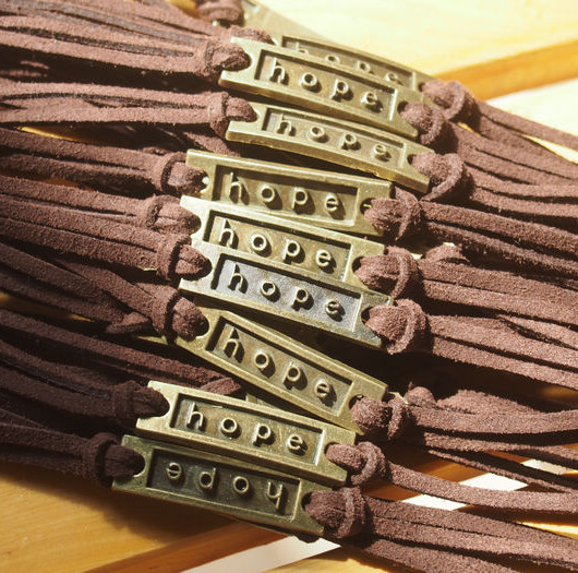 wholesale-hope-bracelet-brown-leather-bracelet