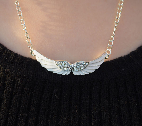 Angel Wings Necklace Bling Diamond Silver For Girl Charm
