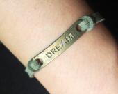 Dream-bracelet-handmade-army-green-leather-wholesale