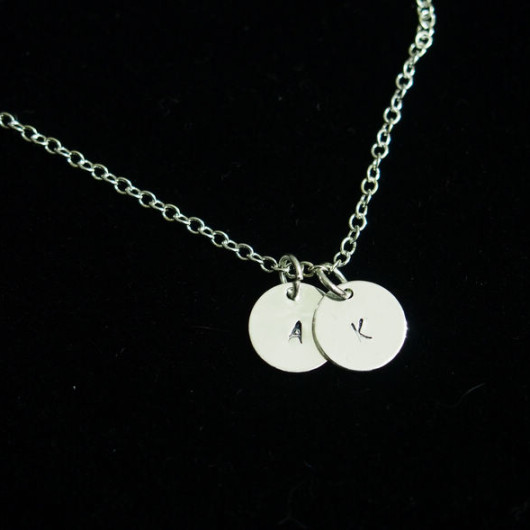 2 initial necklace silver