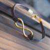 Gold-infinity-bracelet-big-size-brown-leather-bracelet