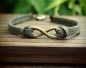 Infinity-bracelet-dark-green-imitation-leather-bracelet