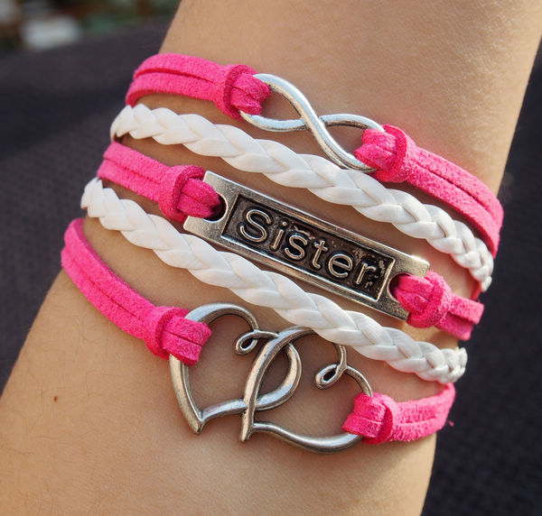 Infinity-sister-double-heart-charm-bracelets