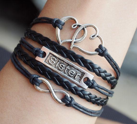 Infinity-sister-heart-to-heart-charm-bracelet-in-silver