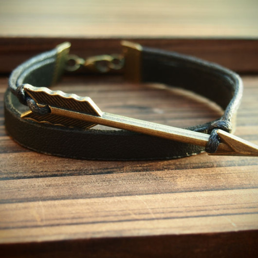 Leather-Bracelet-for-men-arrow-charms