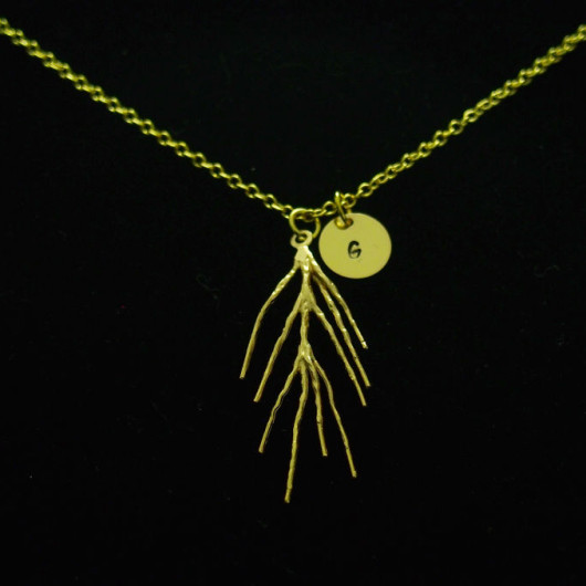 Necklace-18k-Gold-branch-with-custom-tags-with-name