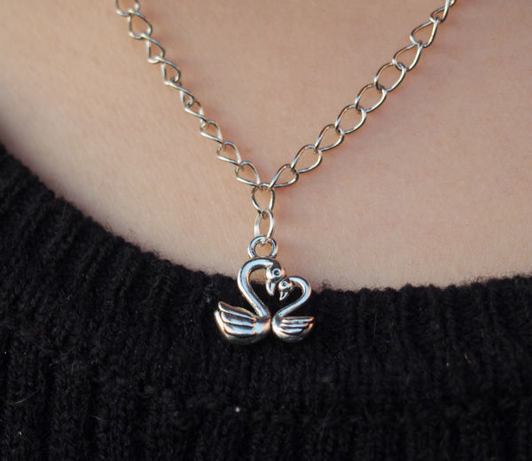two swans fall in love necklace lovers in silver for girls  charm necklace for women  best gift