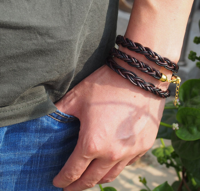 Braided Leather Bracelet For Men Real Leather Brown And