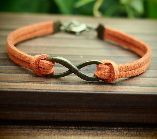 infinity-bracelet-orange-vintage-bronze