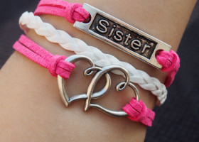 pink-sister-bracelets-double-heart-charms