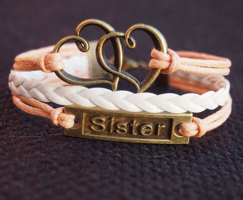 sister-bracelet-heart-to-heart-orange-with-white
