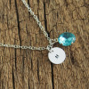 Gems-Birthstone-necklace-with-one-initial-necklace
