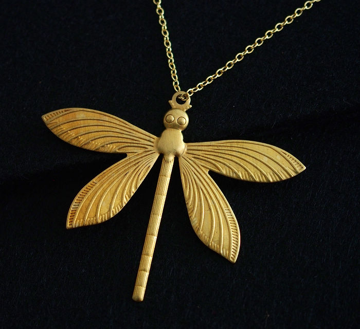 Dragonfly Gold necklace Bridal necklace wedding gift 18K Gold