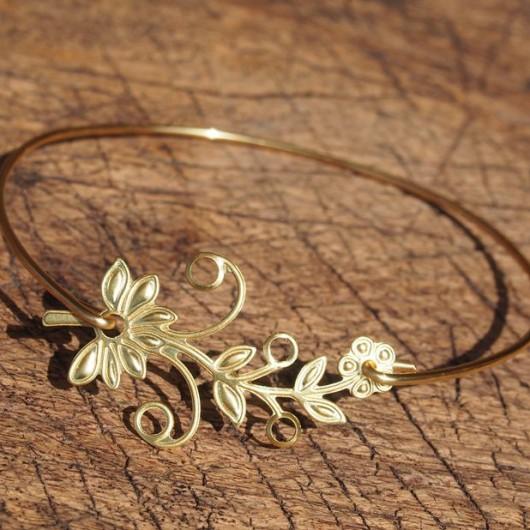 flower-bracelet-gold-bangle-bracelet-for-her
