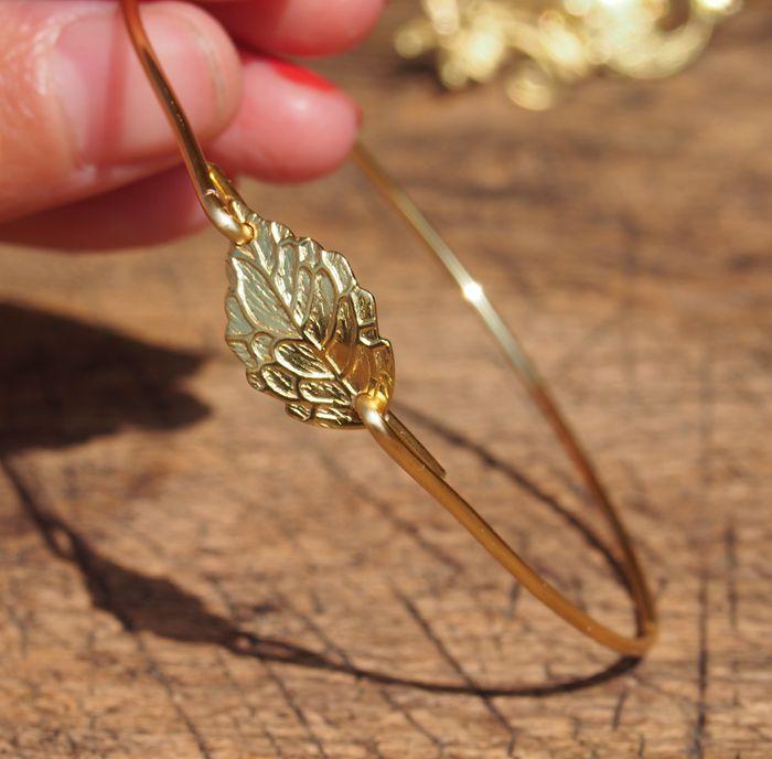 leaf-bracelet-gold-bangle-wire-bracelet