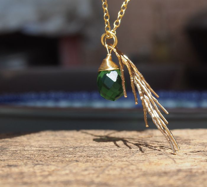 Gold Necklace Branch With Wire Wrapped Stone Necklace