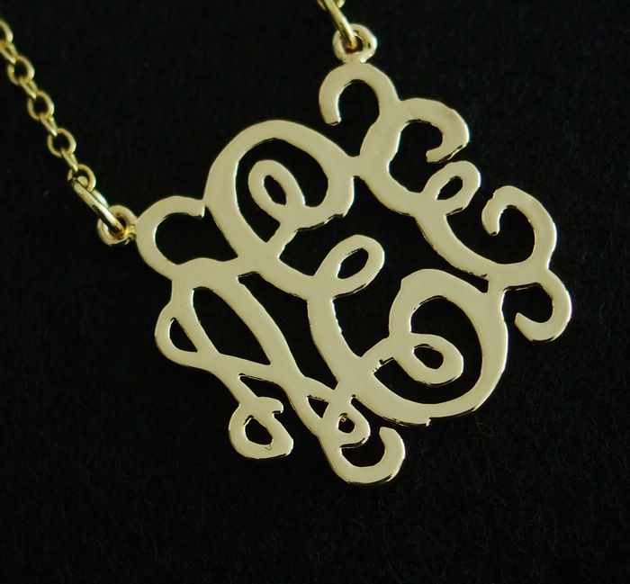 Initial Necklace 18k Gold Sterling