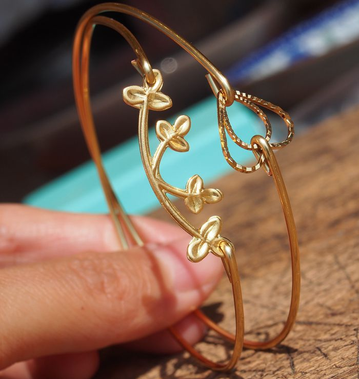 Set Of 2pcs Bangle Jewelry Handmade Double Heart Bracelet Tree Flower Wire 16g As Gift For Her Best