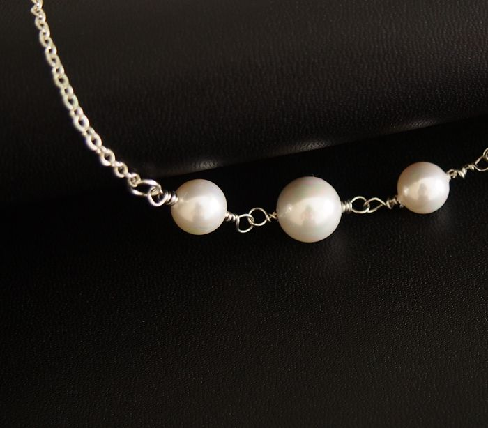 bridal necklace pearls  freshwater pearl  sterling silver necklace for women weddings