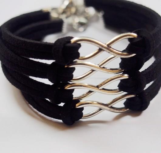 wholesale-infinity-bracelets-black-silver