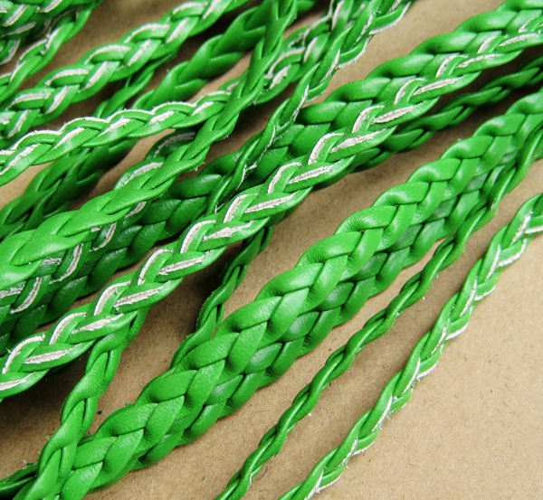 braid leather, green