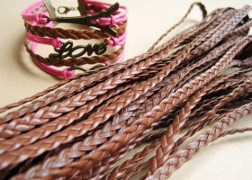 braided leather brown