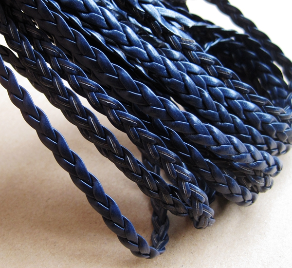 braided leather, navy blue