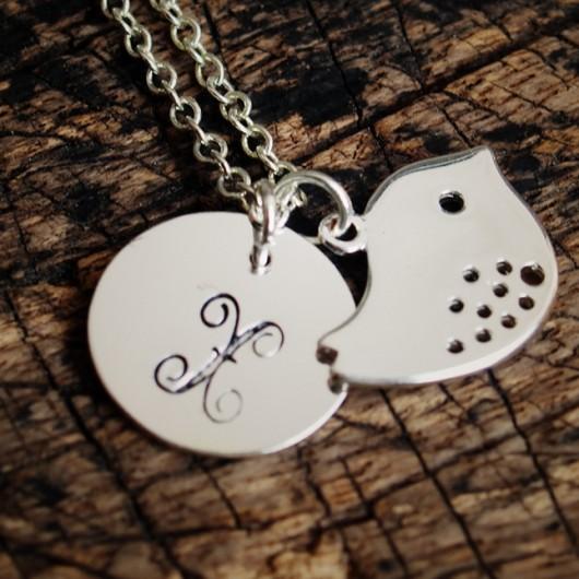 monogram-necklace-bird-necklace-silver-necklace