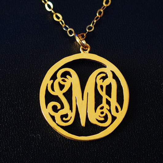 round monogram necklace etsy