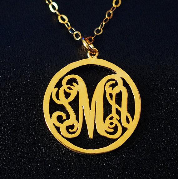 round monogram necklace etsy