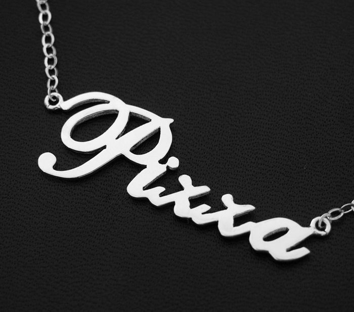 silver name necklace  personalized nameplate necklace  925 sterling silver for girl friend bff