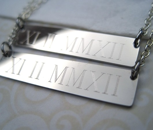 wedding date necklace silver