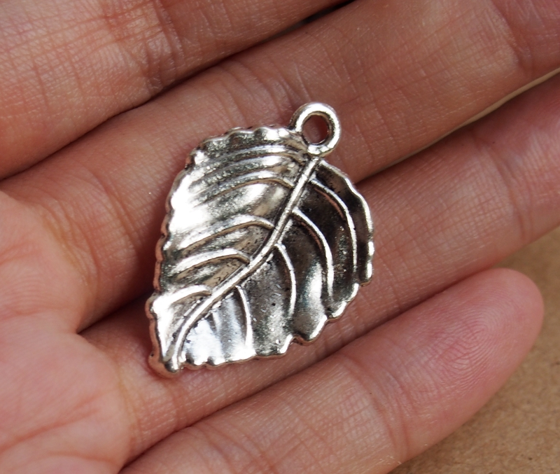 Wholesale silver leaf charms pendants wholesale craft supplies leaf silver charms aloadofball Images